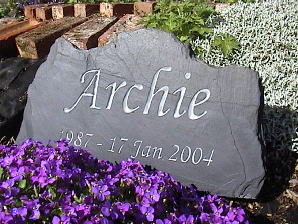slate memorial for archie aged 17