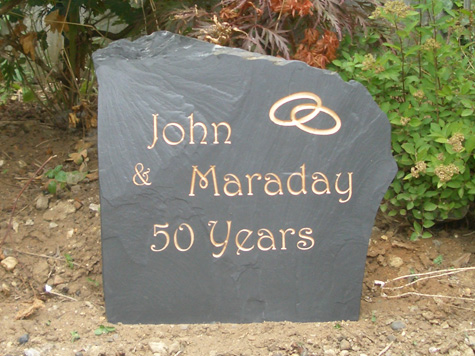 Slate Stone for John and Maraday 50 Years